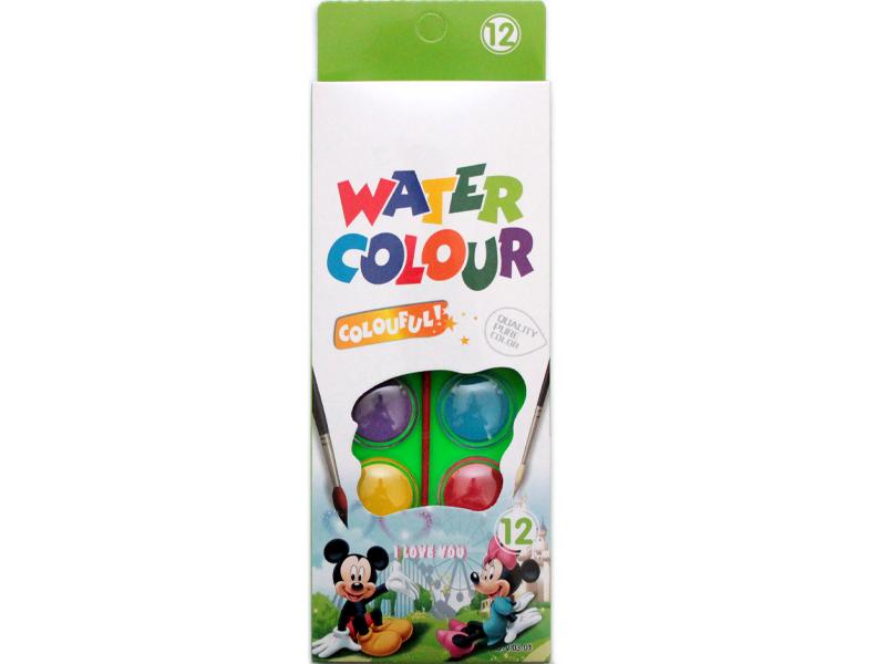 Краски акварельные 12цветов, с кисточкой