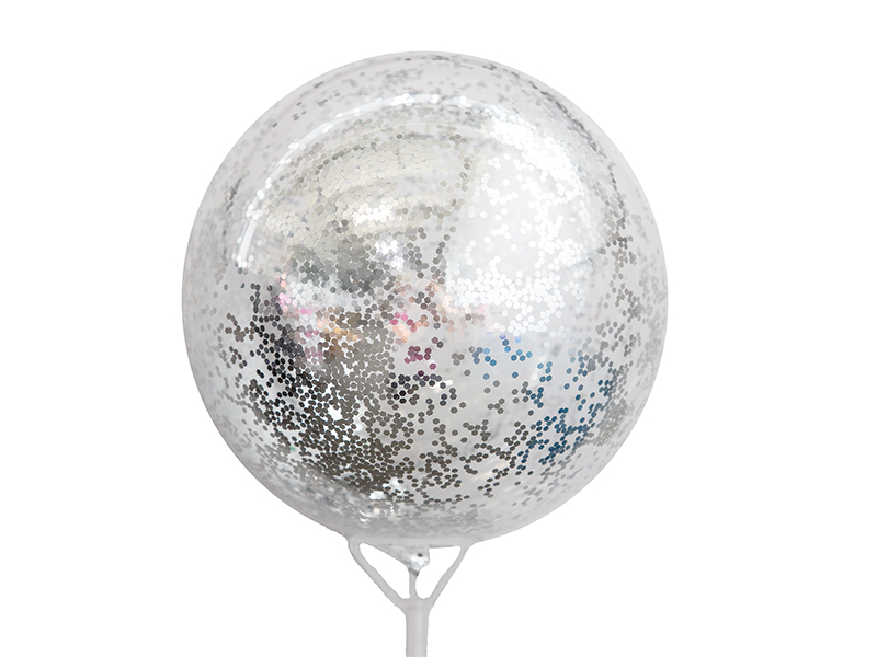 Шар полимерный d20см с глиттером (цв. серебро)