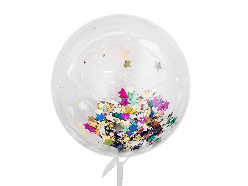 Шар полимерный d20см с конфетти (цв. звезды)
